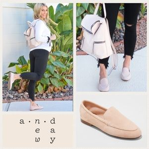 A• new• day Mila suede loafers in blush